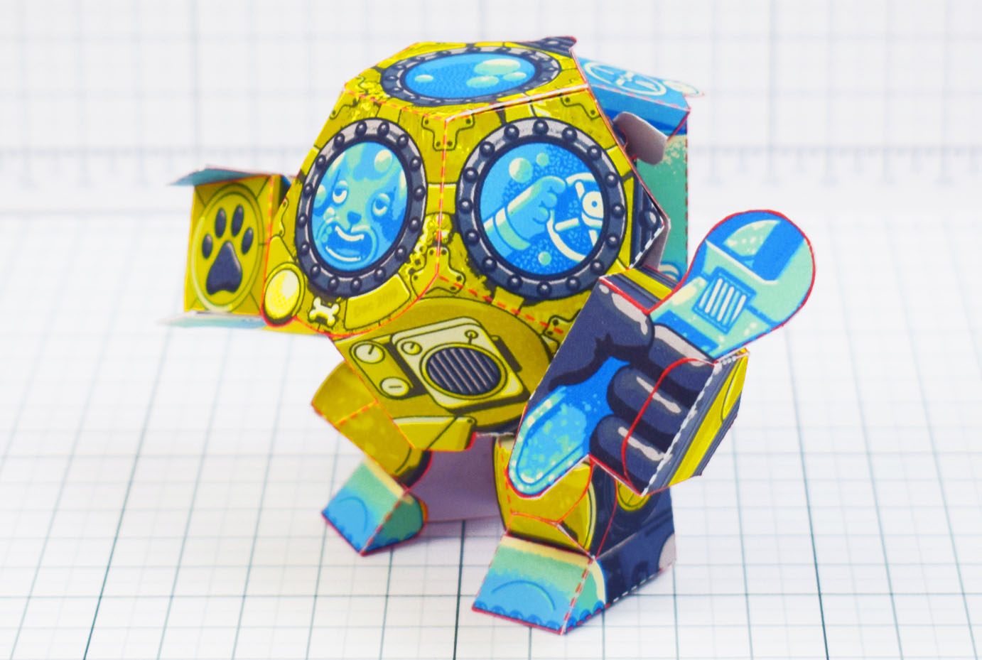 PTI - Diver Dog Paper Toy - Main