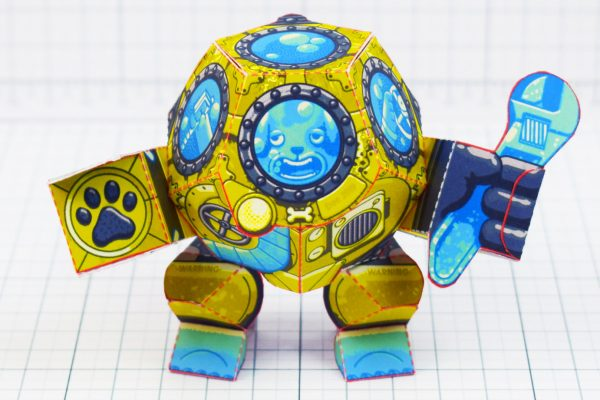 PTI - Diver Dog Paper Toy -Side