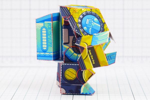 PTI - Diver Dog Paper Toy - Side