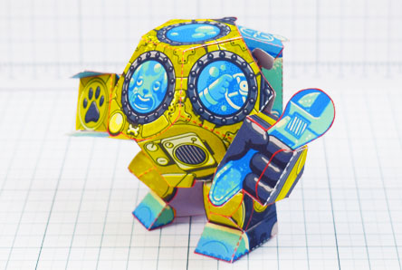 THU - Diver Dog Paper Toy - Thumbnail