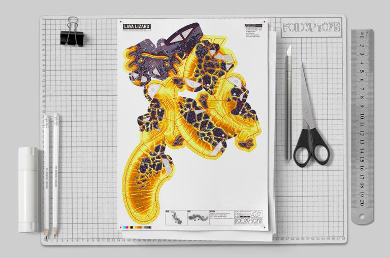MU - Lava Lizard Monster Dragon Paper Toy Craft Mondel - Fold Up Toys 2020 - Mockup