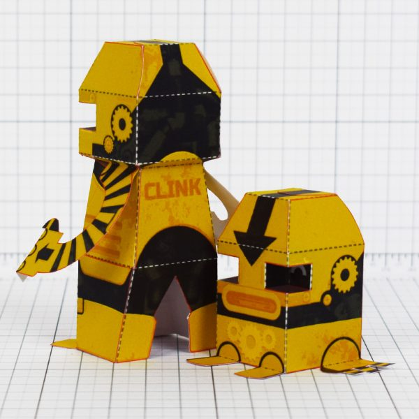 PTI - Clink and Klank Steam Punk Robot Paper Toys Photo - Back