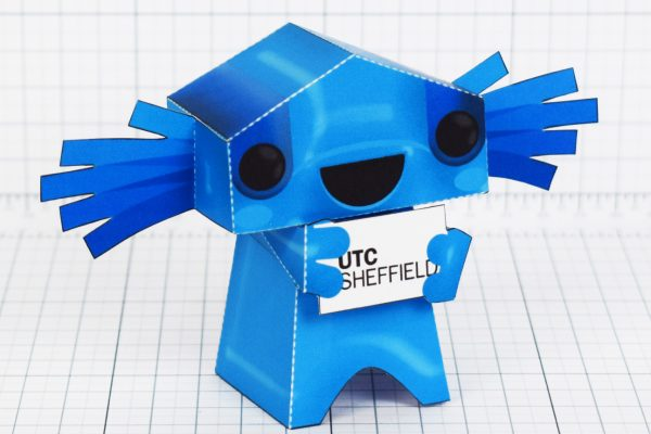 PTI- University Technical Collage UTC mascot paper toy Sheffield - Side
