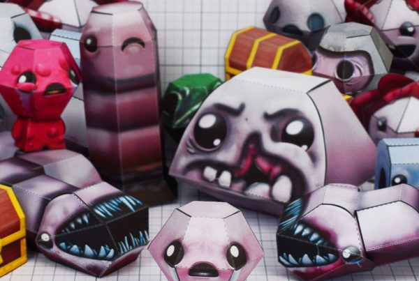 PTI - Binding of Issac fold up toys - paper toys - group shot