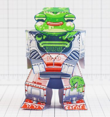 PTI - Techno Toad Frog Robot Paper Toy Craft - Front