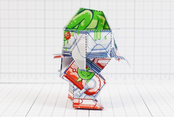 PTI - Techno Toad Frog Robot Paper Toy Craft - Side