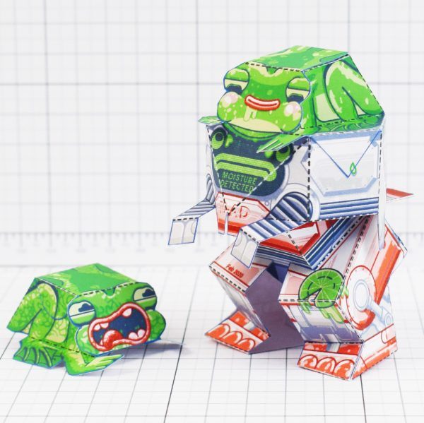 PTI - Techno Toad Frog Robot Paper Toy Craft - Square