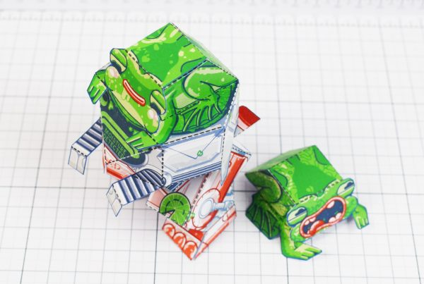 PTI - Techno Toad Frog Robot Paper Toy Craft - Top