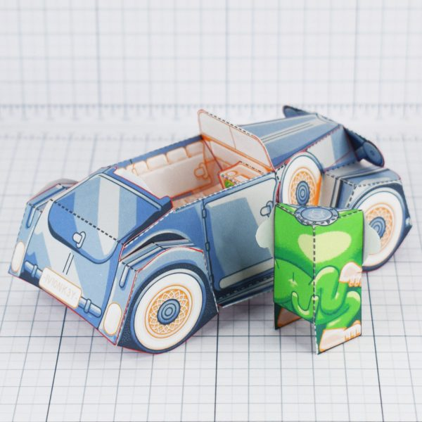 PTI - Monkey Motor paper toy car image - Back