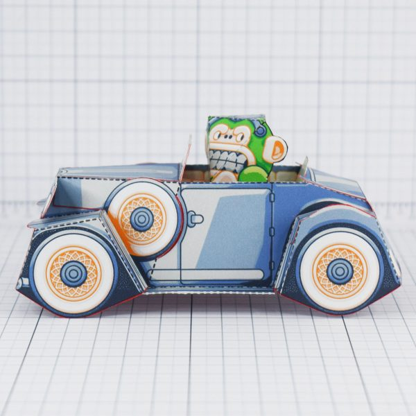 PTI - Monkey Motor paper toy car image - Side