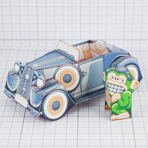 PTI - Monkey Motor paper toy car image - Stand