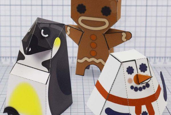PTI - Christmas paper toy trio update penguin gingerbreadman snowman - Main