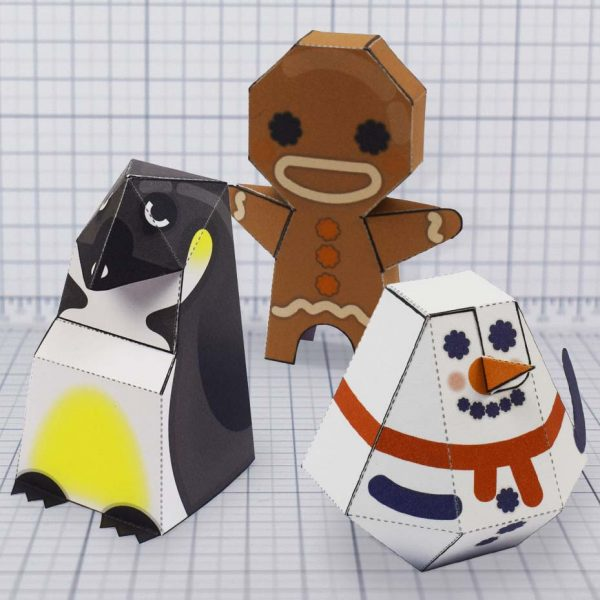 PTI - Christmas paper toy trio update penguin gingerbreadman snowman - Main