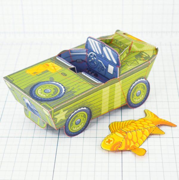 PTI - Aqua Marine Seep Jeep Fold Up Toy Image - Interior