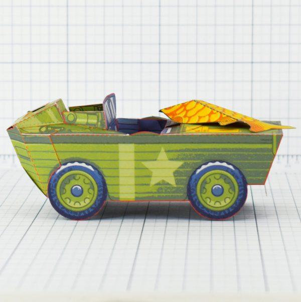 PTI - Aqua Marine Seep Jeep Fold Up Toy Image - Side