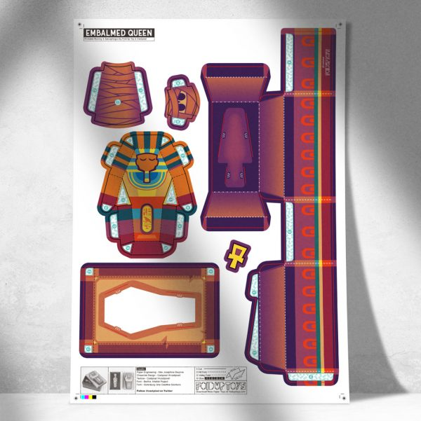 MU - Embalmed Queen Mummy Sarcophagus Paper Toy Image - Mock Up