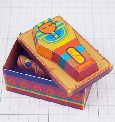 PTI - Embalmed Queen Mummy Sarcophagus Paper Toy Image - Main