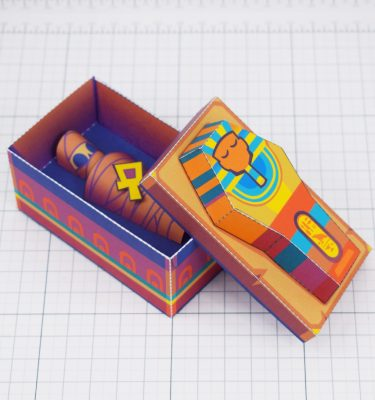 PTI - Embalmed Queen Mummy Sarcophagus Paper Toy Image - Open