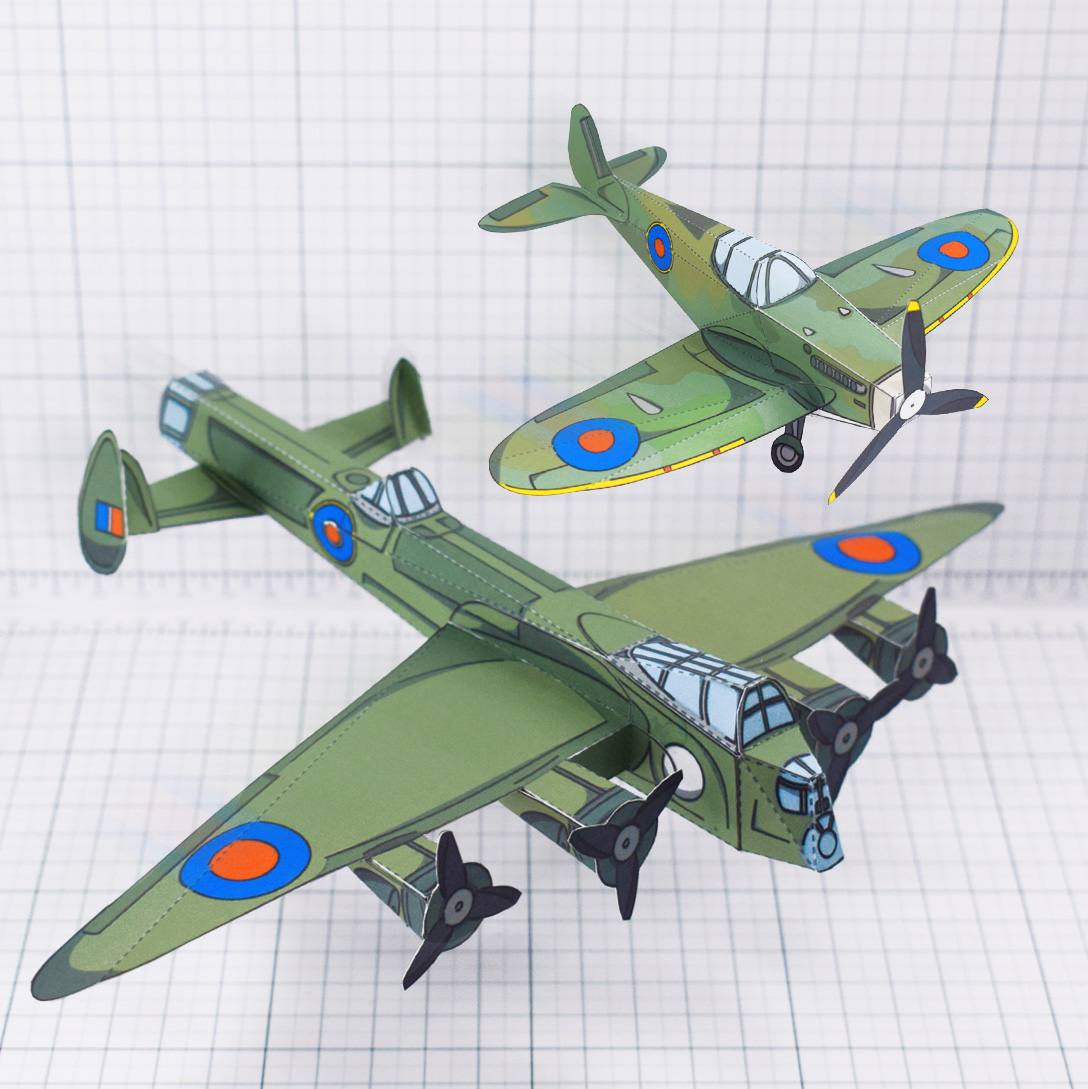 PTI - WW2 Spitfire simple historical paper craft main